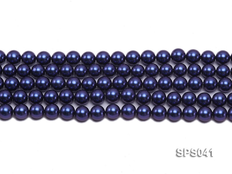 Wholesale 8mm Round Dark Blue Seashell Pearl String big Image 2
