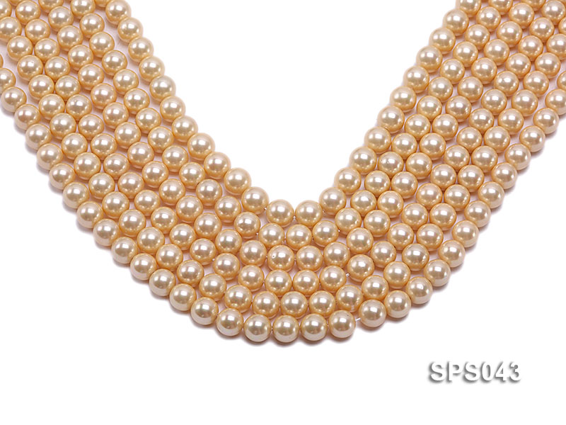Wholesale 8mm Round Yellow Seashell Pearl String big Image 1