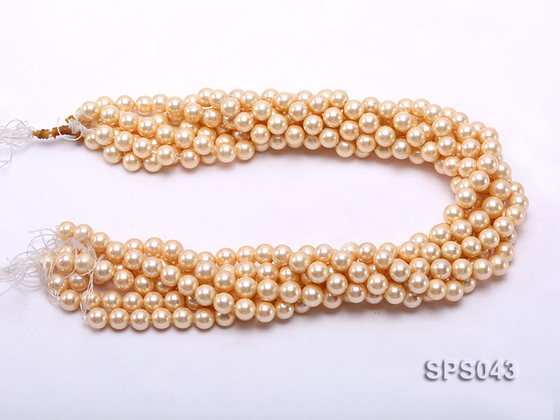 Wholesale 8mm Round Yellow Seashell Pearl String big Image 3