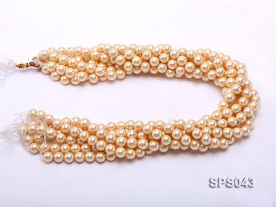 Wholesale 8mm Round Yellow Seashell Pearl String SPS043 Image 3