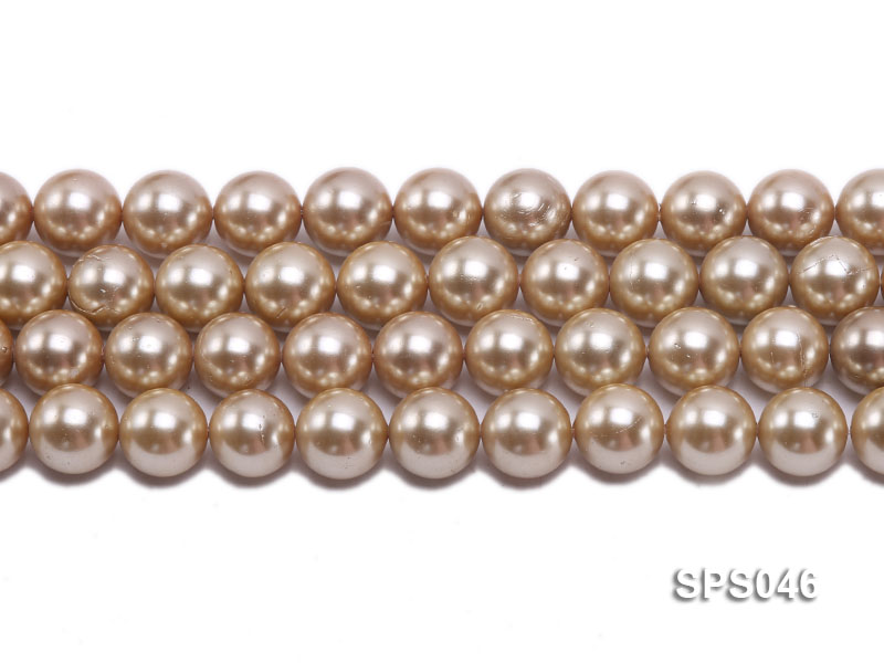 Wholesale 14mm Round Champagne Seashell Pearl String big Image 2