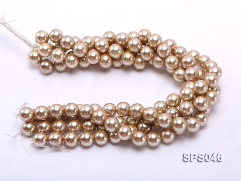 Wholesale 14mm Round Champagne Seashell Pearl String big Image 3