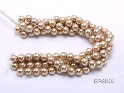 Wholesale 14mm Round Champagne Seashell Pearl String SPS046 Image 3