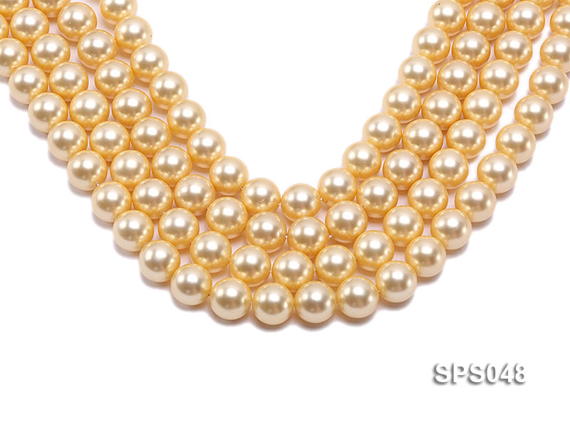 Wholesale 14mm Round Golden Seashell Pearl String big Image 1