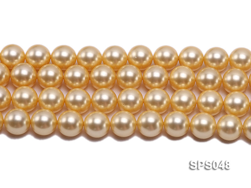 Wholesale 14mm Round Golden Seashell Pearl String big Image 2