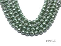 Wholesale 14mm Round Green Seashell Pearl String SPS049