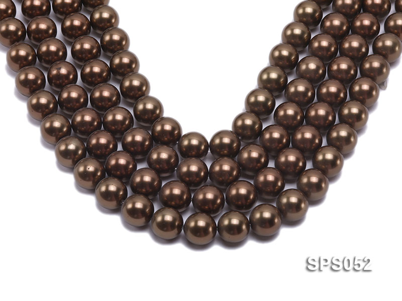 Wholesale 16mm Round Coffee Brown Seashell Pearl String big Image 1