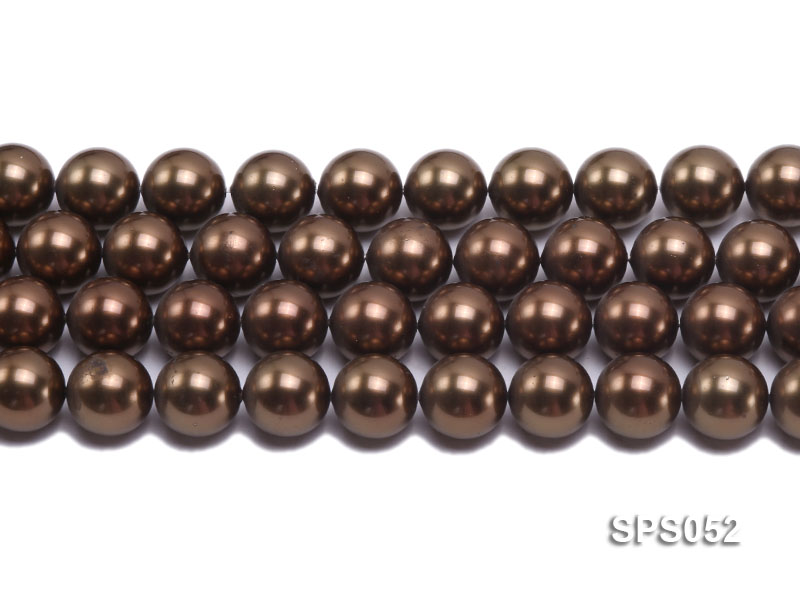 Wholesale 16mm Round Coffee Brown Seashell Pearl String big Image 2