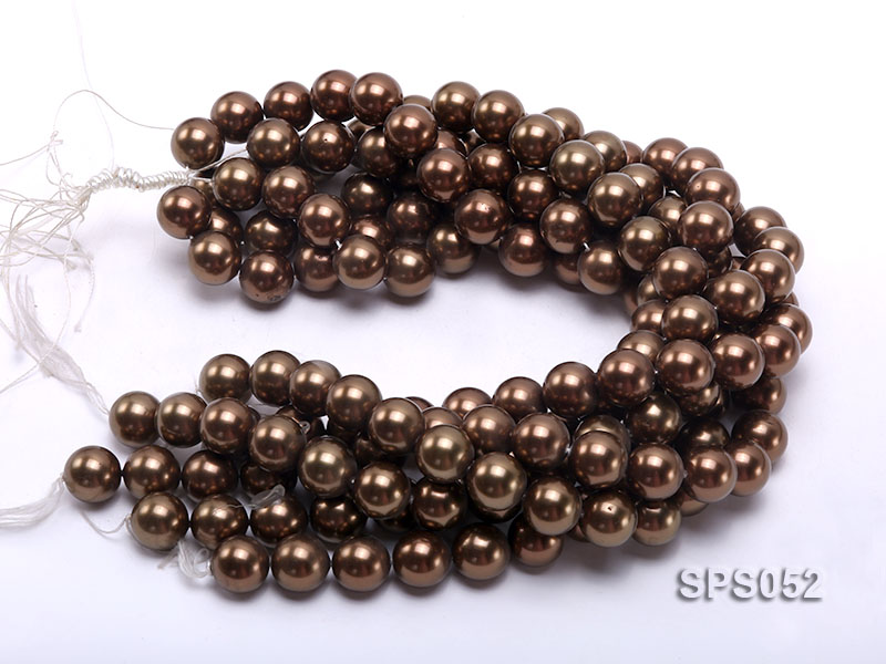 Wholesale 16mm Round Coffee Brown Seashell Pearl String big Image 3