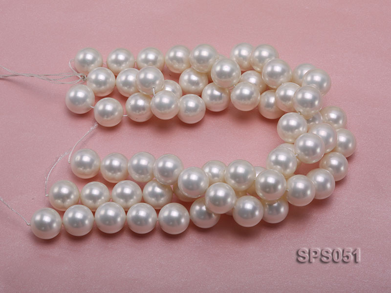 Wholesale 18mm Round White Seashell Pearl String big Image 3