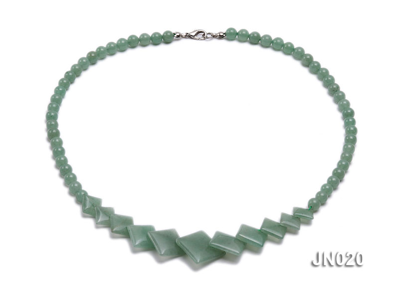 6mm Round and Square Light Green Aventurine Necklace big Image 1