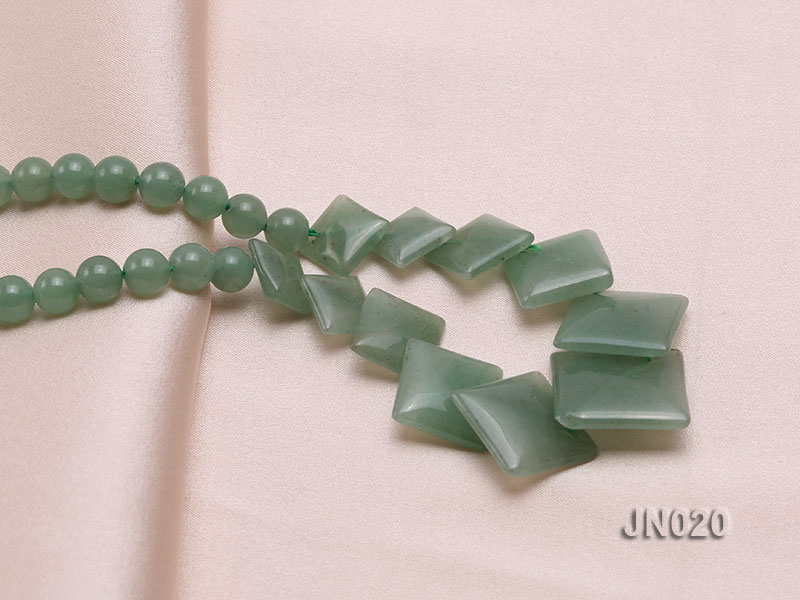 6mm Round and Square Light Green Aventurine Necklace big Image 3