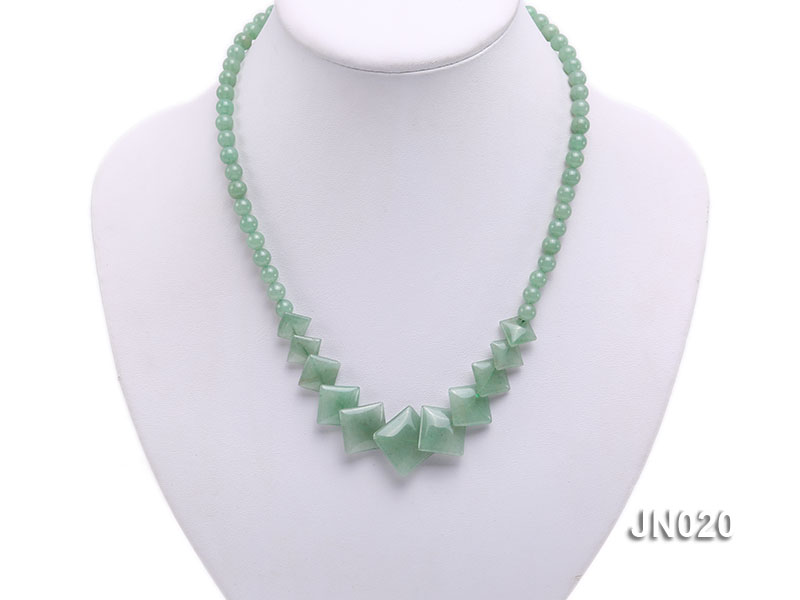 6mm Round and Square Light Green Aventurine Necklace big Image 5
