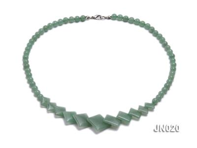 6mm Round and Square Light Green Aventurine Necklace JN020 Image 1