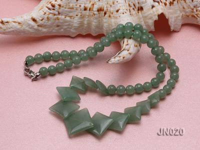 6mm Round and Square Light Green Aventurine Necklace JN020 Image 4