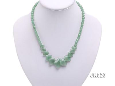 6mm Round and Square Light Green Aventurine Necklace JN020 Image 5