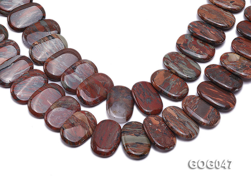 Wholesale 31x23mm Red Oval Picasso Stone String big Image 1