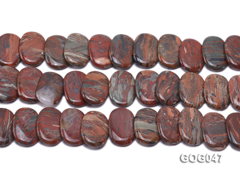 Wholesale 31x23mm Red Oval Picasso Stone String big Image 2