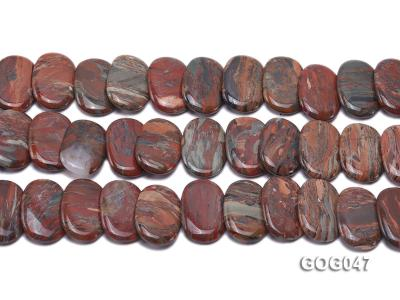 Wholesale 31x23mm Red Oval Picasso Stone String GOG047 Image 2