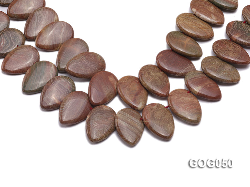 Wholesale 20x30mm Leaf-shaped Picasso Stone String big Image 1