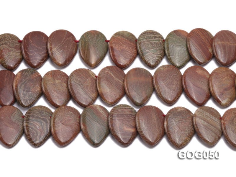 Wholesale 20x30mm Leaf-shaped Picasso Stone String big Image 2