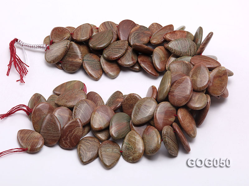 Wholesale 20x30mm Leaf-shaped Picasso Stone String big Image 3