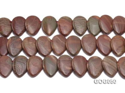 Wholesale 20x30mm Leaf-shaped Picasso Stone String GOG050 Image 2