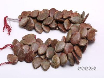 Wholesale 20x30mm Leaf-shaped Picasso Stone String GOG050 Image 3