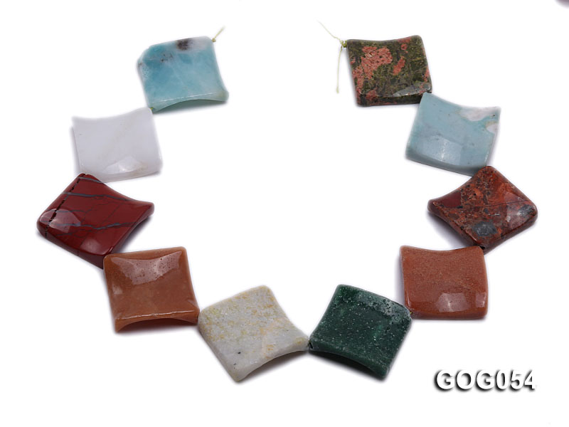 Wholesale 32mm Colorful Square Semiprecious Stone String big Image 4