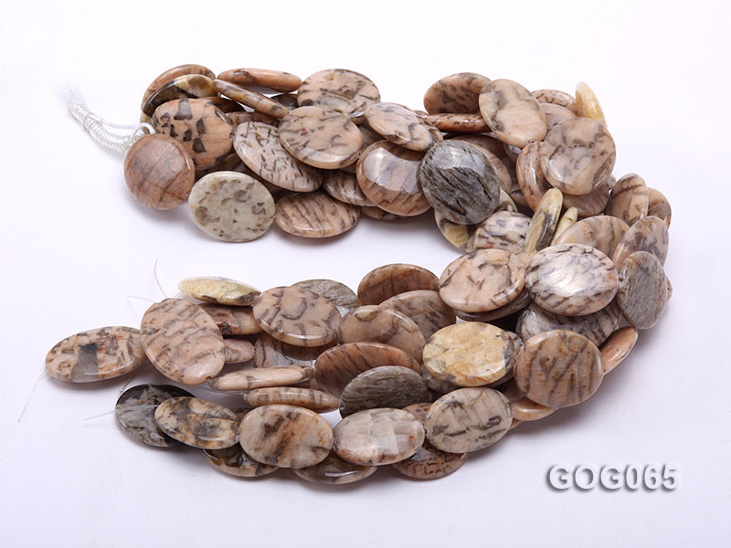 Wholesale 30x25mm Oval Picasso Stone String big Image 3