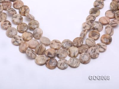 Wholesale 19x19mm Disc-shaped Picasso Stone String GOG068 Image 1