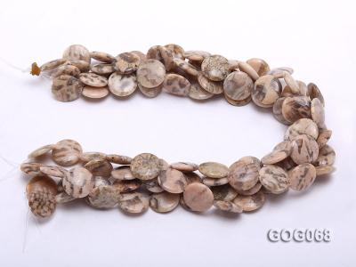 Wholesale 19x19mm Disc-shaped Picasso Stone String GOG068 Image 3