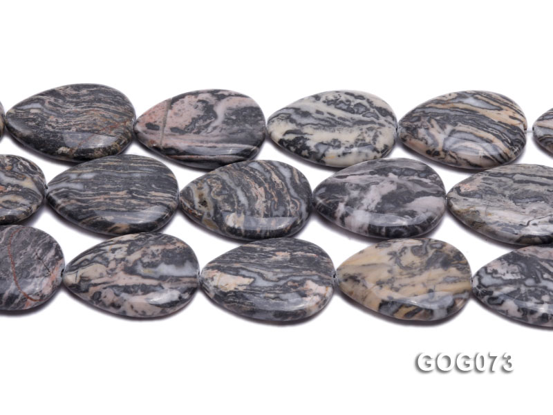 Wholesale 35x25mm Leaf-shaped Picasso Stone String big Image 2
