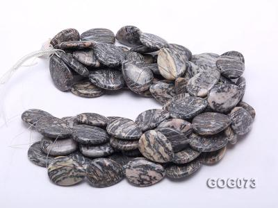 Wholesale 35x25mm Leaf-shaped Picasso Stone String GOG073 Image 3