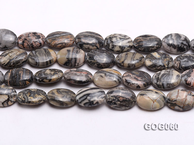 Wholesale 18x13mm Oval Picasso Stone String big Image 2