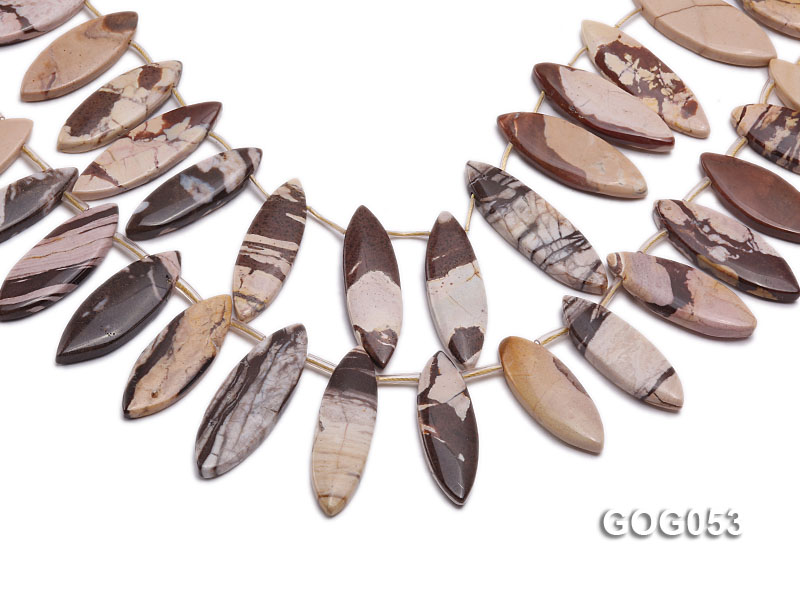 Wholesale 17x40mm Leaf-shaped Picasso Stone String big Image 1