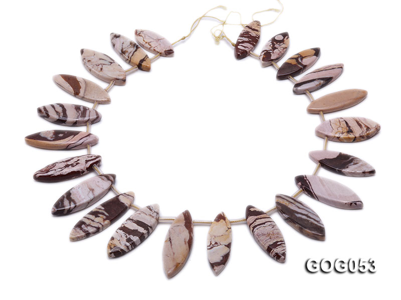 Wholesale 17x40mm Leaf-shaped Picasso Stone String big Image 4
