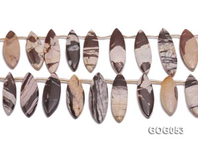 Wholesale 17x40mm Leaf-shaped Picasso Stone String GOG053 Image 2