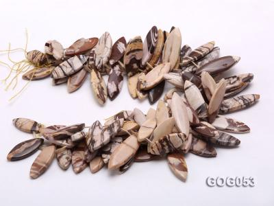 Wholesale 17x40mm Leaf-shaped Picasso Stone String GOG053 Image 3