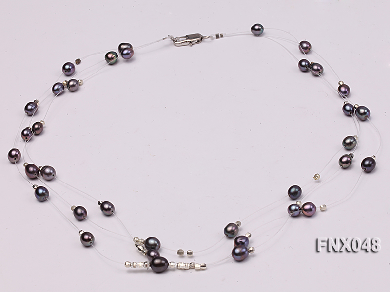 Three-strand 6x8mm Dark-purple Rice-shaped Cultured Freshwater Pearl Necklace big Image 2