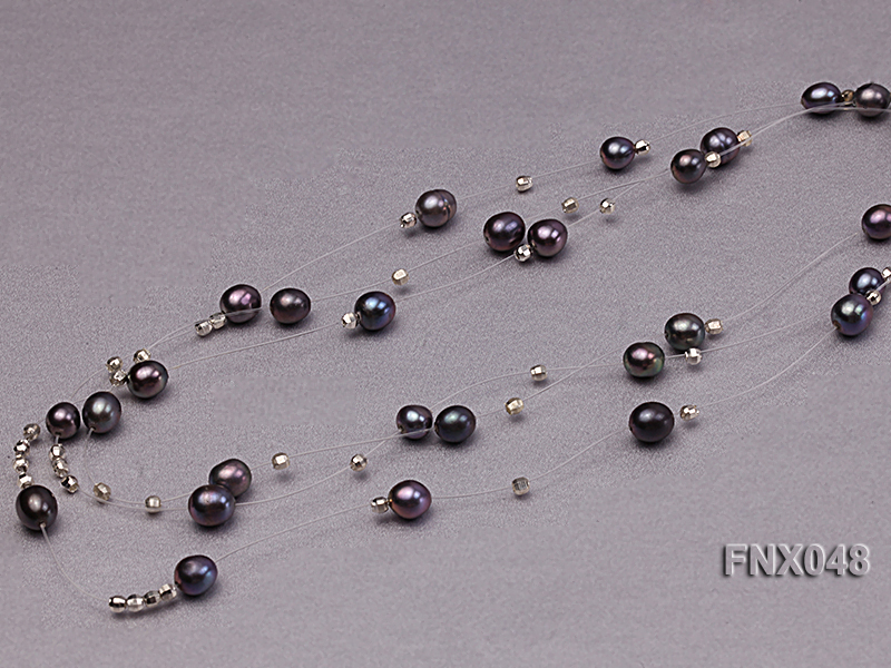 Three-strand 6x8mm Dark-purple Rice-shaped Cultured Freshwater Pearl Necklace big Image 6
