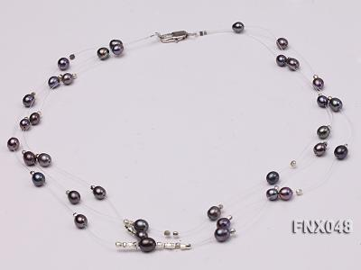 Three-strand 6x8mm Dark-purple Rice-shaped Cultured Freshwater Pearl Necklace FNX048 Image 2