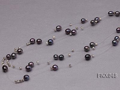 Three-strand 6x8mm Dark-purple Rice-shaped Cultured Freshwater Pearl Necklace FNX048 Image 6