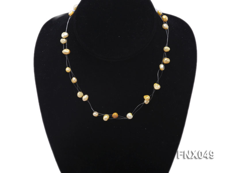 Six-strand 4-8mm Golden Flat Cultured Freshwater Pearl Necklace big Image 2