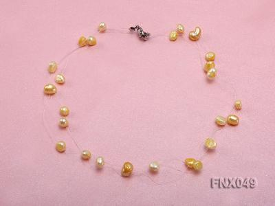 Six-strand 4-8mm Golden Flat Cultured Freshwater Pearl Necklace FNX049 Image 1
