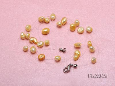 Six-strand 4-8mm Golden Flat Cultured Freshwater Pearl Necklace FNX049 Image 4