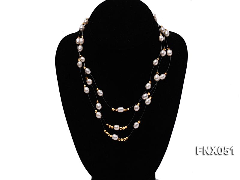 Three-strand 7x9mm White Oval Cultured Freshwater Pearl Necklace big Image 1