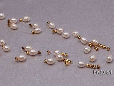 Three-strand 7x9mm White Oval Cultured Freshwater Pearl Necklace FNX051 Image 5