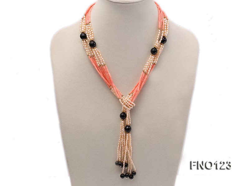 4x3mm pink rice pearl and orange coral and faceted black agate and golden metal beads necklace big Image 1