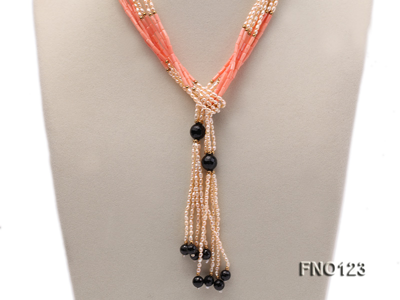 4x3mm pink rice pearl and orange coral and faceted black agate and golden metal beads necklace big Image 2